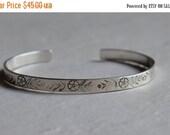 SALE Sterling Silver Cuff Bracelet handstamped with Flower and Leaf Pattern