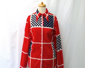 1960s / 70s Vintage Lady Manhattan Cotton Voile Shirt / Red White Blue Checked Polka Dot Shirt