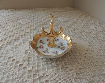 Gold Trimmed Victorian Style Porcelain Jewelry Holder. Small Jewelry Ring Tree With Roses. Diana Ward Signed Vanity Accessory.