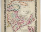 1860 Antique Map Nova Scotia Canada Map New Brunswick Cape Breton Island Map Prince Edward 1860 Mitchell Map, Unique Wedding Gift for Couple