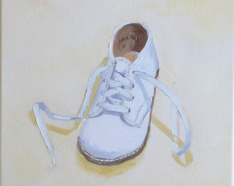 "Proud Step, 10 x 10 x 3/4"", original oil on canvas painting. Yvonne Wagner. Baby Shoe. Painting of Shoe. Nursery Art. Free Shipping to USA."