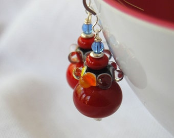 Rainbow Earrings, Red Earrings, Lampwork Glass Bead Earrings, Large Earrings, Colorful Earrings, Cheerful Earrings