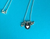 Painted White Heart Rock and charms Necklace