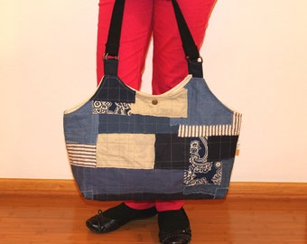Mixed Fabric Patched Tote, Upcycled Denim and Canvas Bag, Boro Bag