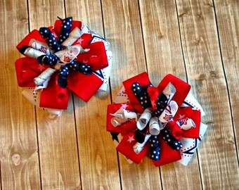 Girls Fourth of July Bows- Red White Navy Silver- Baby Bows- Toddler Bows- Pigtail Bows- Patriotic Bows