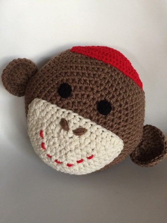 Crochet Sock Monkey Pillow