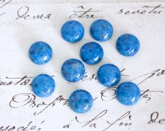 Round Denim Lapis Cabochons - 4mm, 6mm, 8mm, or 10mm Loose Semi-Precious Gemstones