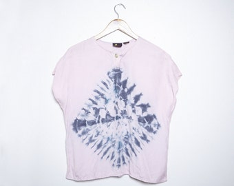 Upcycled Vintage Blouse - Shibori - LizSport - Medium - M -