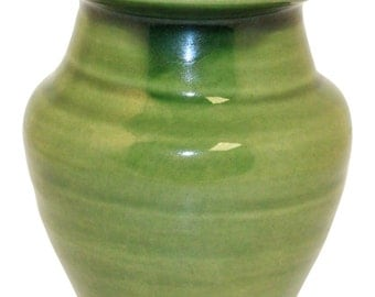 Van Briggle Pottery 1980s Original Hand Thrown Glossy Green Vase