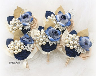 Brooch Boutonnieres, Navy Blue, Gold, Champagne, Ivory, Corsages, Groomsmen, Button Hole, Elegant Wedding, Pearls, Crystals, Vintage Style