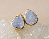 Gold Blue Druzy Teardrop Studs - Blue Geode Studs