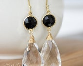 PRE-XMAS SALE Gold Black Onyx and Crystal Quartz Gemstone Earrings - Wire Wrapped - Teardrop Earrings