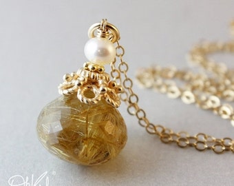 MOTHERS DAY SALE Golden Rutile Quartz - Freshwater Pearl Necklace - 14Kt Gold Fill