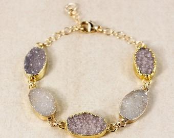 ON SALE Multi-Stone Natural Agate Druzy Bracelet – Boho Jewelry