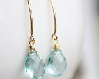 25% OFF Gold Aqua Quartz Gemstone Earrings - Wire Wrapped Earrings - Gold Filled