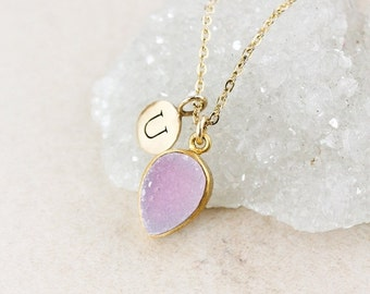 50 OFF SALE Baby Pink Druzy Necklace - Inverse Teardrop - Initial Charm