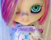 New Soft Resin OOAK REALISTIC custom Blythe eye chips set F, by Ana Karina. UV laminated.