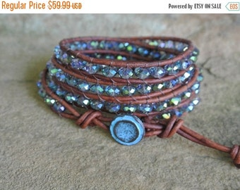 SALE Summer Goddess Crystal Beaded Leather Wrap Bracelet   20% off coupon code SALE20