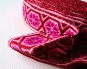 Geometric Vintage Upholstery Trim Burgundy Magenta Pink 5 Meters