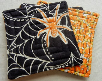 Orange and Black Halloween Quilted Coaster Set