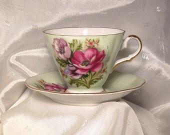Charming Lefton Mint Green Floral Tea Cup Saucer Set