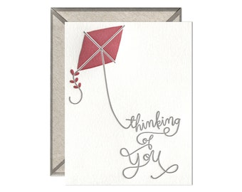 Thinking of You Kite letterpress card