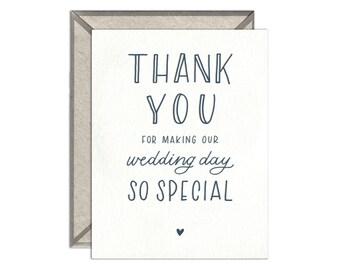 Wedding Thank You letterpress card - single