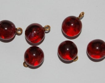 Vintage Glass Marble Bead 6 Pendants 15mm Ruby Red Swirl