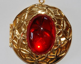 Vintage Brass Circle Locket Pendant Red Glass Cabochon