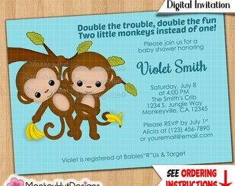 TWIN Boys Monkeys Baby Shower Invitations Twins boy blue brown green swinging Custom Made to Order Personalized DIGITAL INVITATION #248