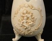 Lefton Procelain Cherb Footed Egg Vase, Planter, Display, Home Decor