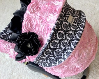 Ritzy Baby Damask Infant Car Seat Cover, Baby Car Seat Cover with matching strap set, Pink Roses Infant Car Seat Cover, Baby Car Seat Covers