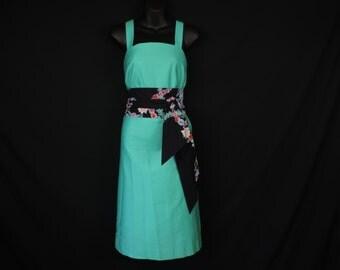 vintage teal sundress 70s boho bright tunic dress floral obi belt small medium new old stock