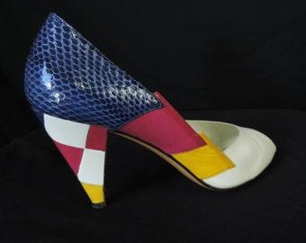 80s snakeskin patchwork heels vintage Bruno Magli bold peep toe stiletto pumps 7.5
