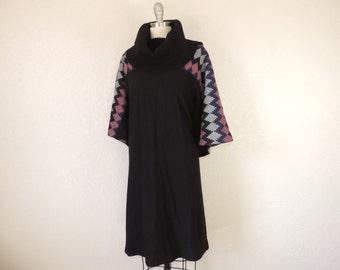 vintage cowl neck dress 70s zig zag bell sleeve turtleneck sweater dress boho winter OSFM