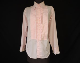 vintage men's ruffle tuxedo shirt pink lace tux formal shirt 16