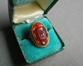 Vintage Chinese Export Hand Carved Carnelian Scarab Ring Mysterious Antique Look