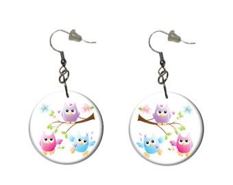 3 Owls Earrings Purple Pink Aqua Owls on a Branch Dangle Earrings Fun Casual Earrings