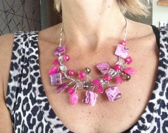 One of a Kind, Statement Necklace, Wearable Art, Pink, Wire Wrapped, Contemporary