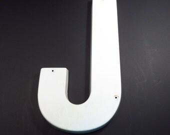 Letter J White Plastic 24 Inch Vintage Industrial Salvage Sign Upper Case Letter