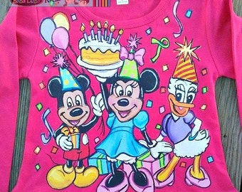 Long or shortsleeve DRESS Happy Birthday dress painted Minnie mickey hand painted size 12 18 24 2 3 4 5 6 7 8 Boutique custom PAGEANT