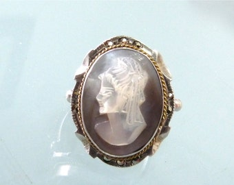 Victorian Cameo Ring Antique Abalone Shell Marcasite Sterling Silver with Gold rope Cameo Ring Size 6
