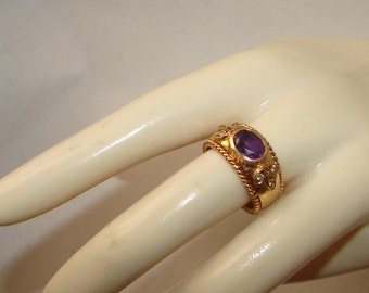 Free Shipping Genuine Diamonds & Amethyst Etruscan Revival 14K Solid Gold Wide Band Vintage Ring Size 6 1/2