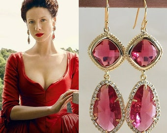 Claire Fraser Randall Outlander Ruby Cubic Zirconia Gold Earrings- e723