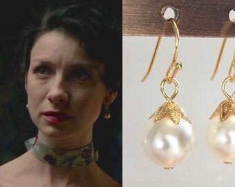 Claire Fraser Randall Outlander White Swarovski Pearl Gold Leaf Flower Petal Earrings