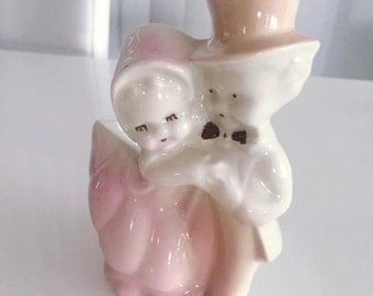 Adorable Vintage 1950's era Boy and Girl Planter in Pastel Colors -- Mid Century