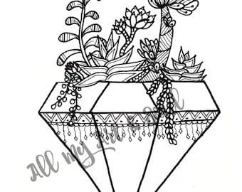 Adult Coloring Page - Terrarium- Instant Download - Zentangle - Doodle Illustration - DailyDoodler - Unique Succulent Terrarium Illustration