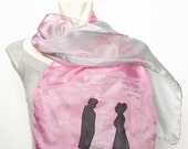 20 OFF SALE Pride And Prejudice  Lover Book Scarf Hand Painted Silk Mr Darcy, Quotes Literary Scarf Jane Austen Pastel Colour