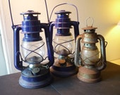 Vintage Lantern - Miners Lamp - 3 Lamps - choose 1 or more - Shabby Chic Decor- decor - set prop - could be painted or left - Meva 186 Czech
