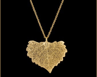 Real Cottonwood Leaf Dipped In 24k Gold Pendant - Real Dipped Leaf - In Gift Box